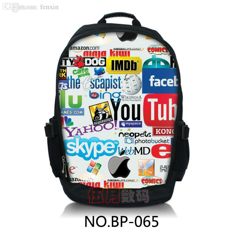 Wholesale Stylish Skype Logo 13 14 15 College Bag Laptop Daypack Hiking Backpack Rucksacks Book Travel