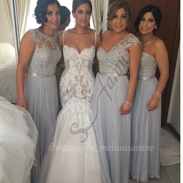 Entrega rápida Apliques de encaje con cuentas Vestidos de dama de honor de gasa con cinta 2021 Nuevo estilo vestido de fiesta personalizado BDS023