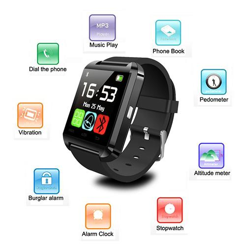 1pc Bluetooth Smart watch U8 Wrist Watches U Watch for iPhone 6 puls 5S Samsung S4 Note 3 HTC Android Phone Smartphones Wear G-W1074