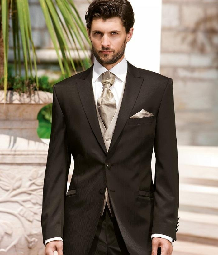 Brown Mens Wedding Tuxedos Mens Suit Peaked Lapel Wedding Suits ...