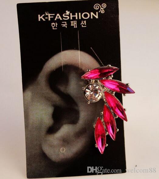 10 pares / lote brincos de cristal orelha cuff para mulheres menina brinco artesanato jóias presente mix cores ea015 *