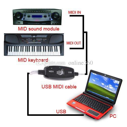 MIDI USB IN-OUT Interface Cable Cord Converter PC to Music Keyboard Adapter