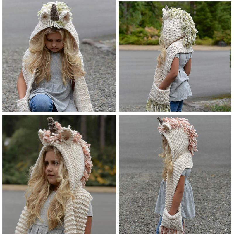 Kids Unicorn Scarf Cap 2 in 1 Kids Infant Outdoor Warm Knitted Hats ... ad95b7313a6