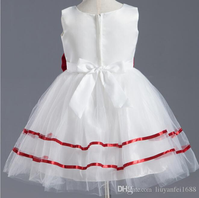 2015 A-Line White Starsdress Crepe Short Mini With Red Satin Bow Red Edge Flower Girl Dresses Real Cute Beautiful Baby Girl Gown