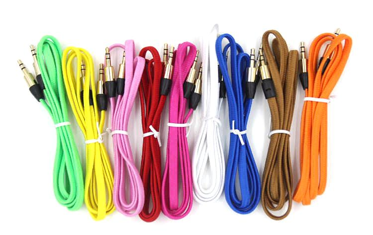 1M 3FT Braided AUX Cables Male To Male Stereo Car Extension Audio Cable for  Iphone 6plus Mobile Phone Speaker
