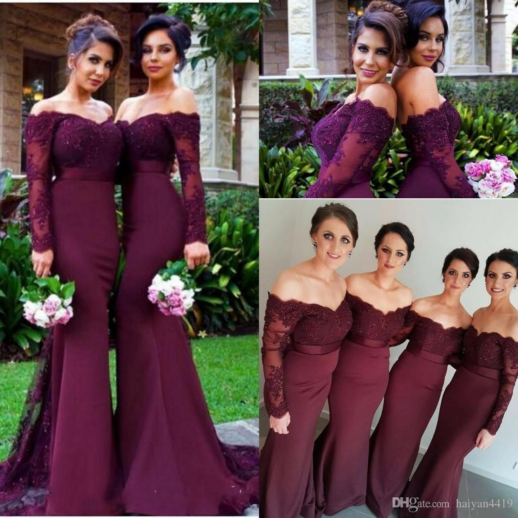 8bd948e34757 2017 Junior Burgundy Mermaid Bridesmaid Dresses Off Shoulder Long ...