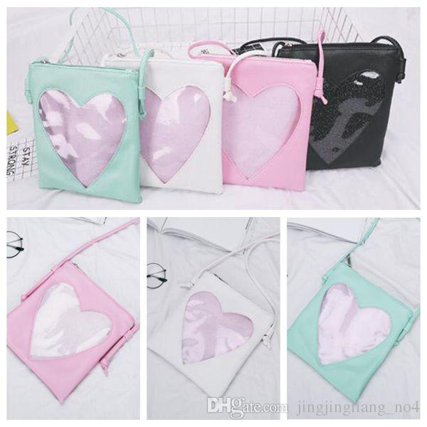 4 Colors Cute Transparent Love Heart Shape Ita Bag PU Leather Messenger Bag Kids Kawaii Crossbody Handbag Girls Shoulder Bag CCA8416 100pcs