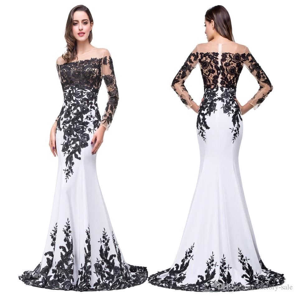 a1267c650 Compre 100% Foto Real Nuevo Negro Blanco Formal Vestidos De Noche Sheer  Jewel Cuello Mangas Largas Encaje Apliques Vestidos Fiesta De Baile Vestidos  Noche ...