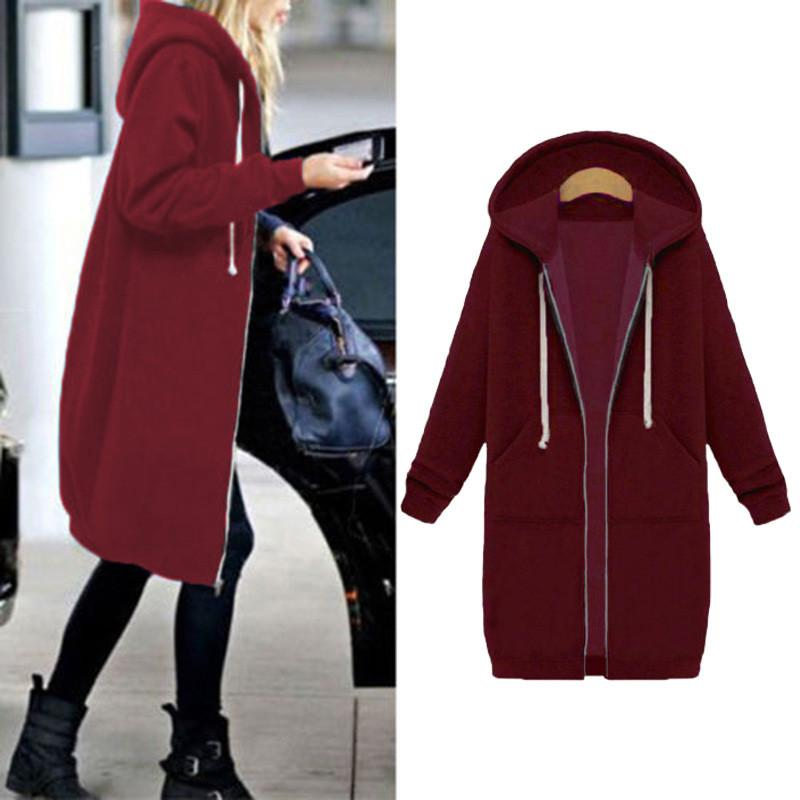Large Sizes S-5XL 2017 Autumn Winter Long Coat Women Hooded Outerwear & Coats Female Cape Jacket Overcoat Zipper Poncho Black