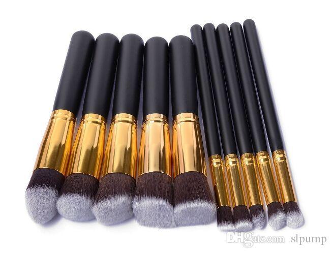 Spazzole di trucco Pennello cosmetico professionale Kit in nylon capelli Manico in legno Ombretto fondotinta