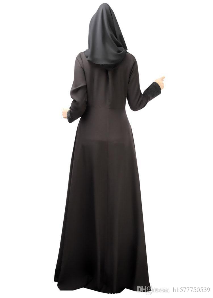 Горячие Продажи Мусульманское Платье Абая Турецкая Женская Одежда Исламская Абая Джилбаб Musulmane Vestidos Longos Хиджаб Одежда Дубай Кафтан Лонго Черный