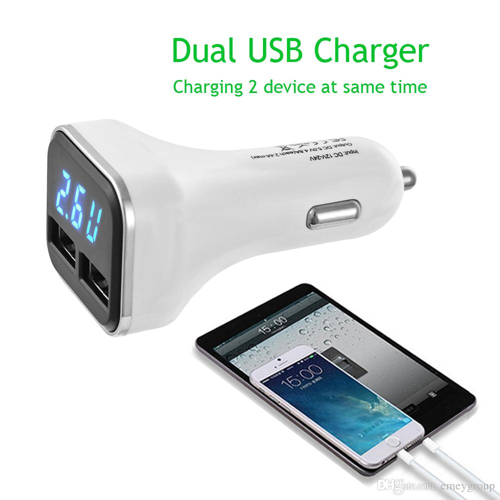 LED Display Dual USB Car Charger DC12-24V 5A Input 4.8A Output Car Phone Charger for Cellphones Driving Recorder Tablet