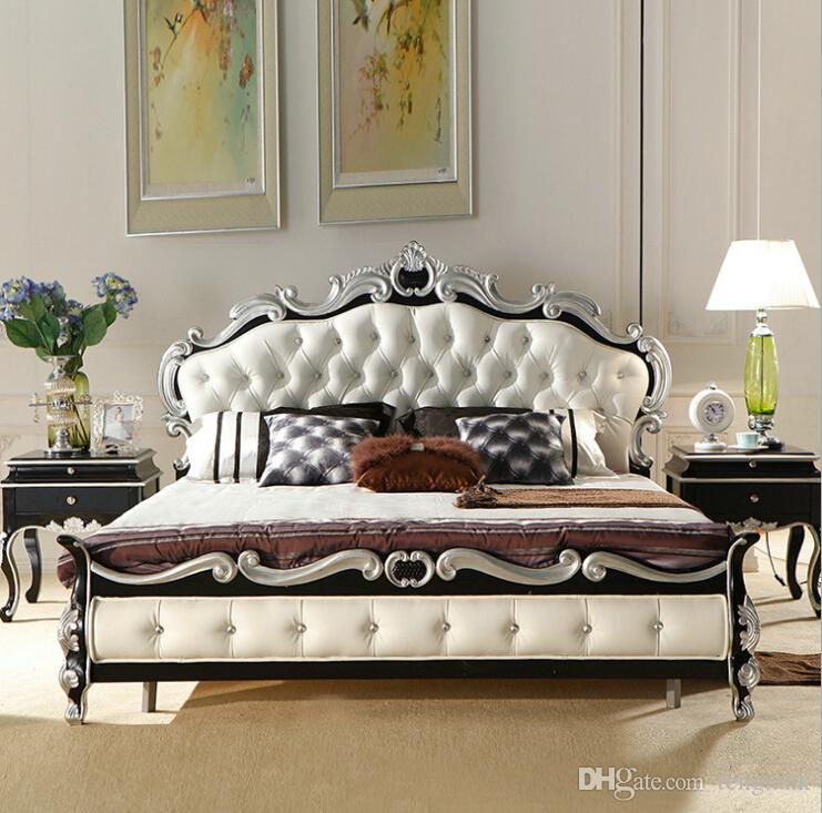 factory price royal bed fashion european french carved bed furniture king size bed 9091 2 - Fashion Bedroom Furniture