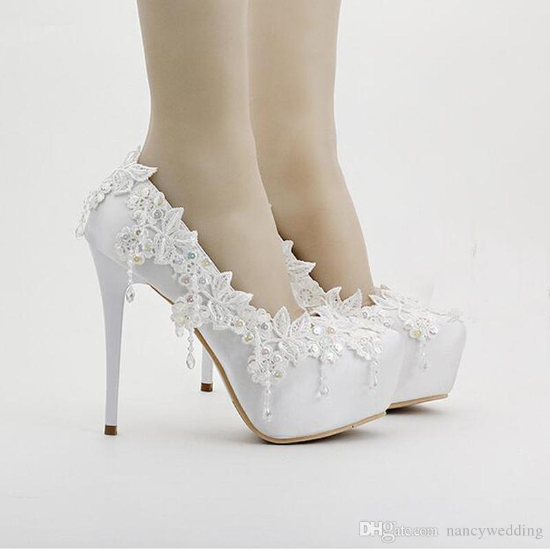 White Satin Platforms Round Toe Formal Dress Shoes Wedding Party High Heels Women Shoes Lace Flower Birthday Party Prom Shoes