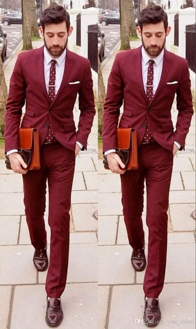 Fashion 2015 Dark Red Custom Made Wedding Suits For Men