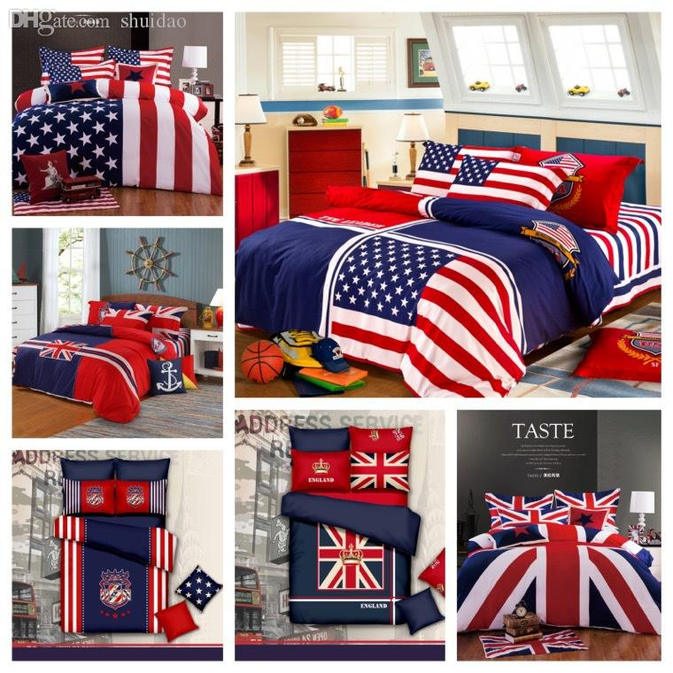 Wholesale 100% Organic Cotton American Flag Bedding Set Twin Full Queen  King Size Usa Uk British Flag Bedding Duvet Cover Bed Sheets Skateboard  Bedding ...