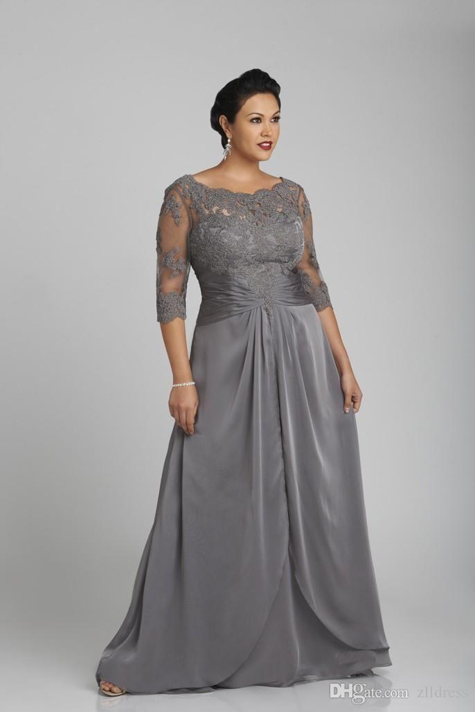 Diseñador de talla grande, gris, madre, formal, media manga, gasa, vestido de noche, fiesta 2019, madre de la novia, vestido de gala, vestidos formales personalizados