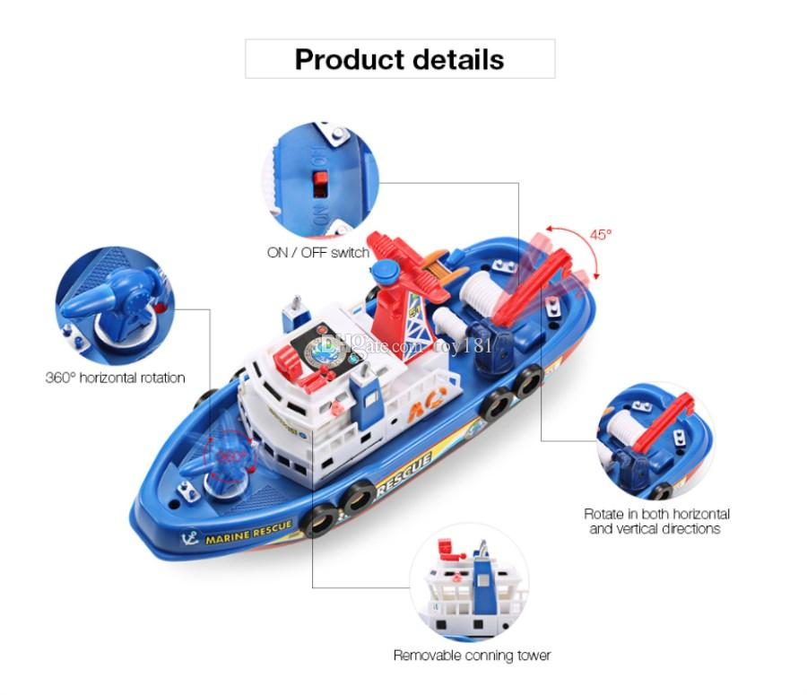 Electronic Boat U.S Fire Boat Auto Spray Water Seaport Work Boat Fire Fighting Ship with led Model electronic toys Hobbies