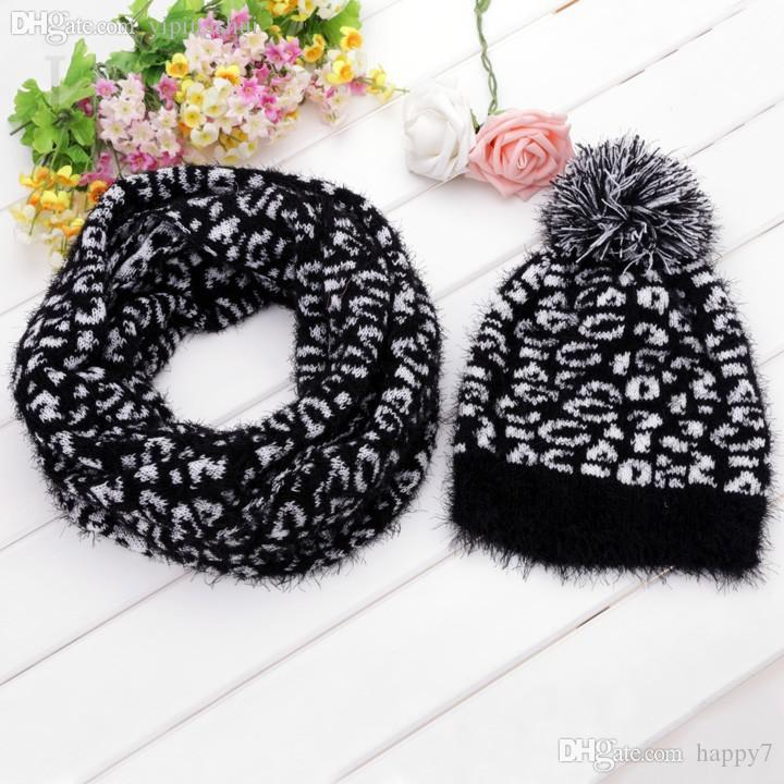 Wholesale-Winter Leopard Scarf Hat Knitted Scarf And Hat Set For Women Grain Pattern Winter Warm Ski Skating Cap Hat + Scarf Set