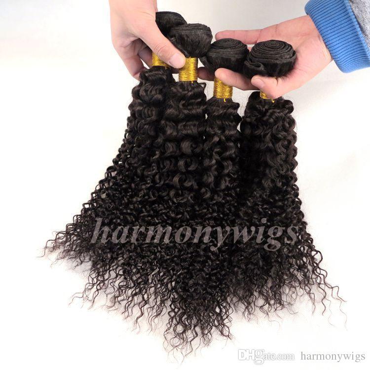 Tramas de cabelo brasileiro virgem Jerry Encaracolado Tece Bundles 8-34 polegada Não Transformados Peruano Indiano Mongol Boêmio Extensões de Cabelo
