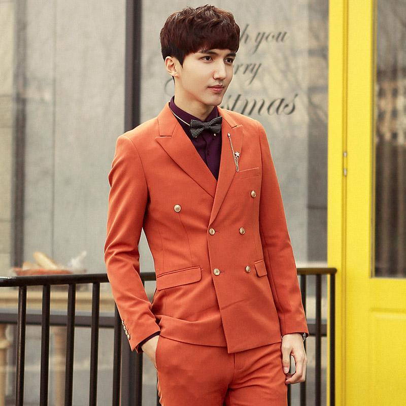 Exquisite craft latest character high-grade fashion handsome the double-breasted gun collar business casual wedding suits for men