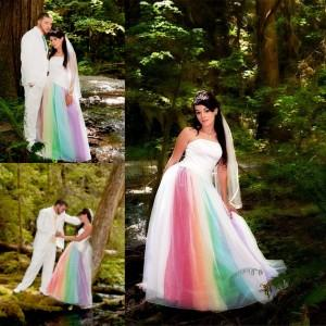 Discount New Colorful Tulle 2015 Wedding Dresses Custom Made A Line ...