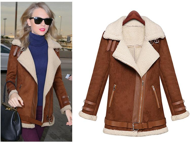 Online Cheap Winter Woman Suede Jackets Long Designer Shearling ...