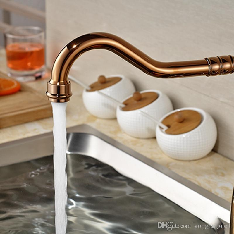 Vente en gros et au détail Promotion poli Rose pont en or monté sur la cuisine robinet bec orientable poignée en céramique eau chaude et froide