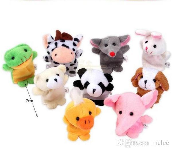 500 шт./лот DHL Fedex животных палец куклы Дети Детские милые игры Storytime бархат плюшевые игрушки ассорти животных