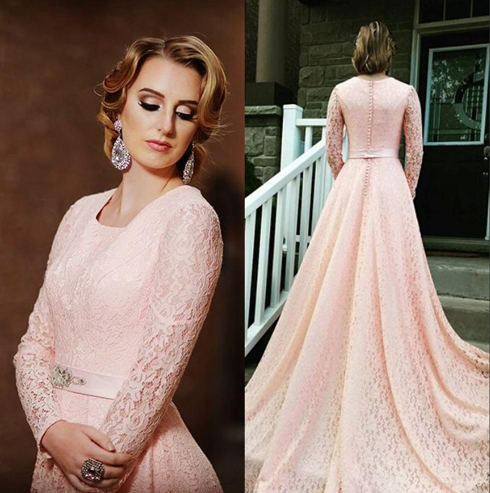 Discount Modest Pink Lace Wedding Dresses 2016 Illusion Long Sleeves ...