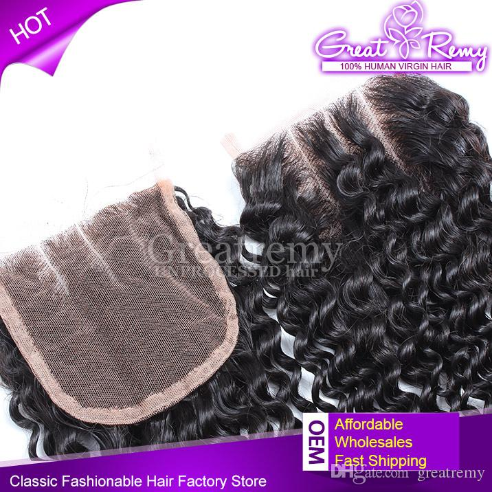 Greatemy® Curly Hair Extension buntar med 3 part Curly Lace Closure 4 * 4 100% Malaysisk Virgin Human Hair Weave On Sale