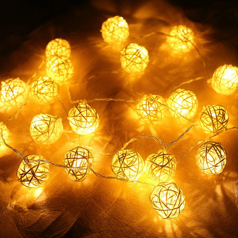 cheap christmas lights garlands 4m 20 led rattan ball led string fairy lights lanterns wedding decor party warm white led strip outdoor string of lights - White Christmas Lights Cheap