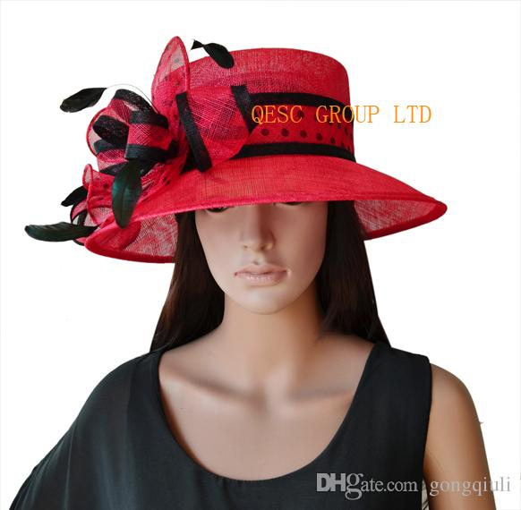 New Arrival.red Black Polka Dot Sinamay Hat Dress Hat Ladies Hat for ... f87b2da14c7