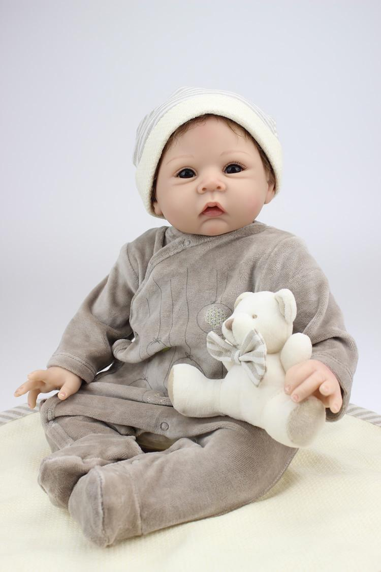 22 Inches Silicone Vinyl Reborn Baby Dolls Boy Smiling Real Photo ...