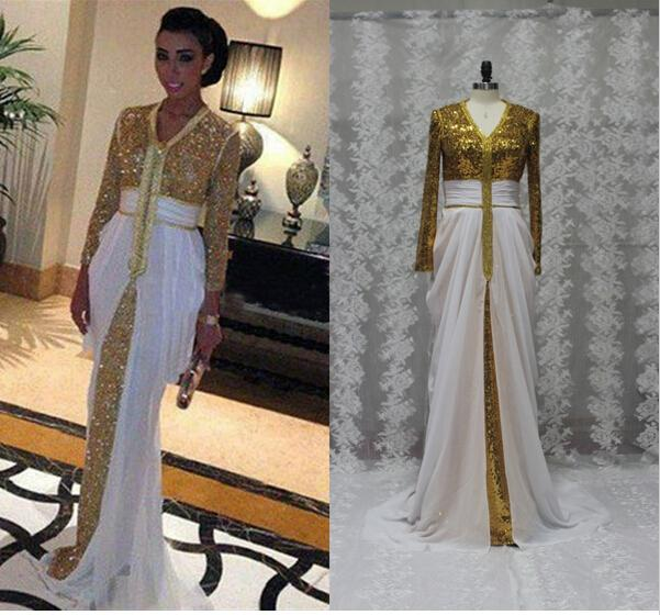 Real Sample Arabic Evening Dresses White Chiffon Gold Sequin Prom ...