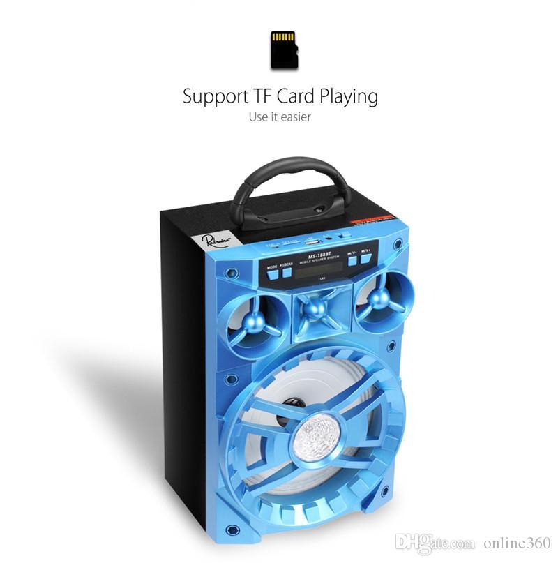 Altoparlante Bluetooth da 15 W MS-188BT Altoparlante Hi-Fi Bass audio Subwoofer senza fili Music Box da esterno con USB LED TF TF Radio con pacchetto