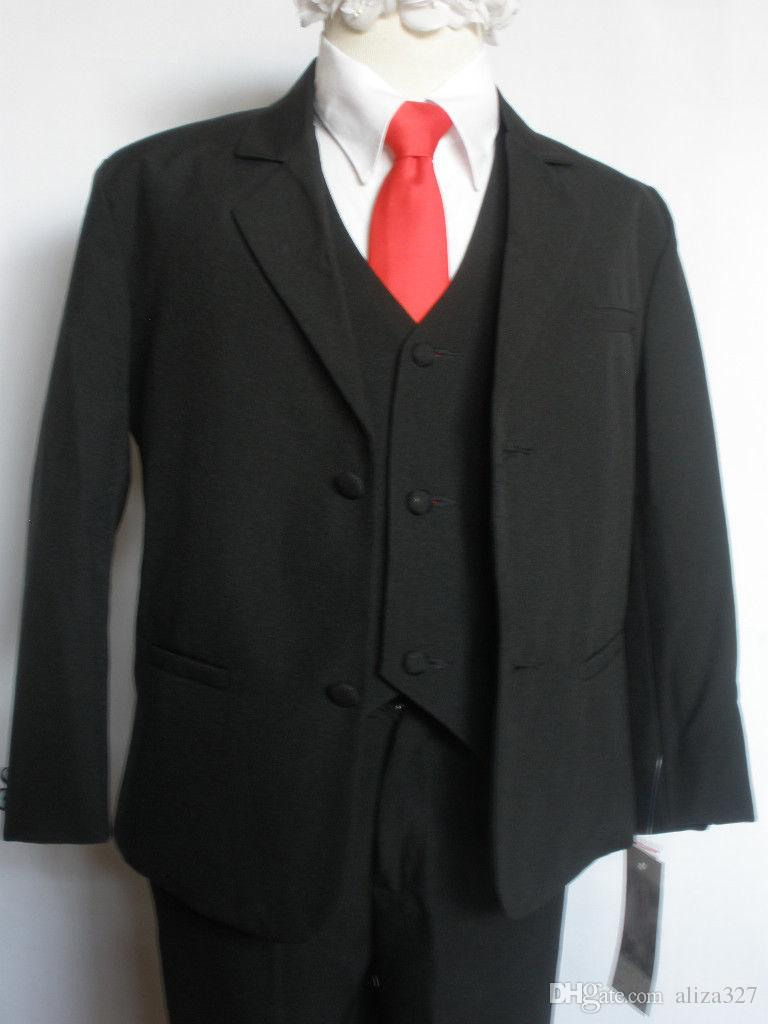 Fashion new black wedding groomsmen tuxedo flower girl party dress boy suit 3 jacket + pants + vest custom made