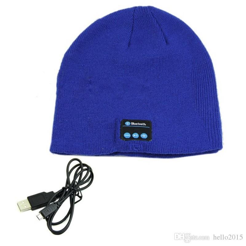 Para homens quentes mulheres inverno macio gorro chapéus sem fio bluetooth cap inteligente fone de ouvido fone de ouvido fone de ouvido microfone chapelaria de malha cap mais cor