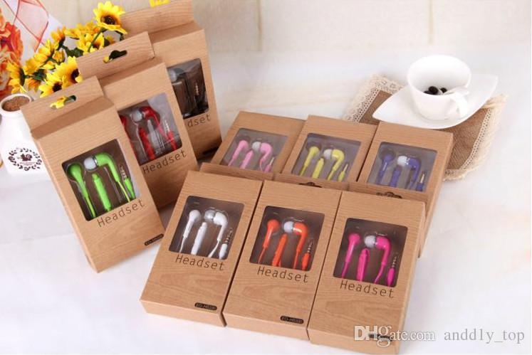 Piatto colorato-Orecchio 3.5mm cuffie con controllo del volume e il MIC cuffia Earbuds Samsung Galaxy S4 S5 i9600 Nota 2 Nota 3 N9000