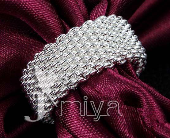 2016 Hot sales 925 Silver Ring Fine Fashion Net Ring Women&Men Gift Silver Jewelry Finger Rings Size 6/7/8/9/10