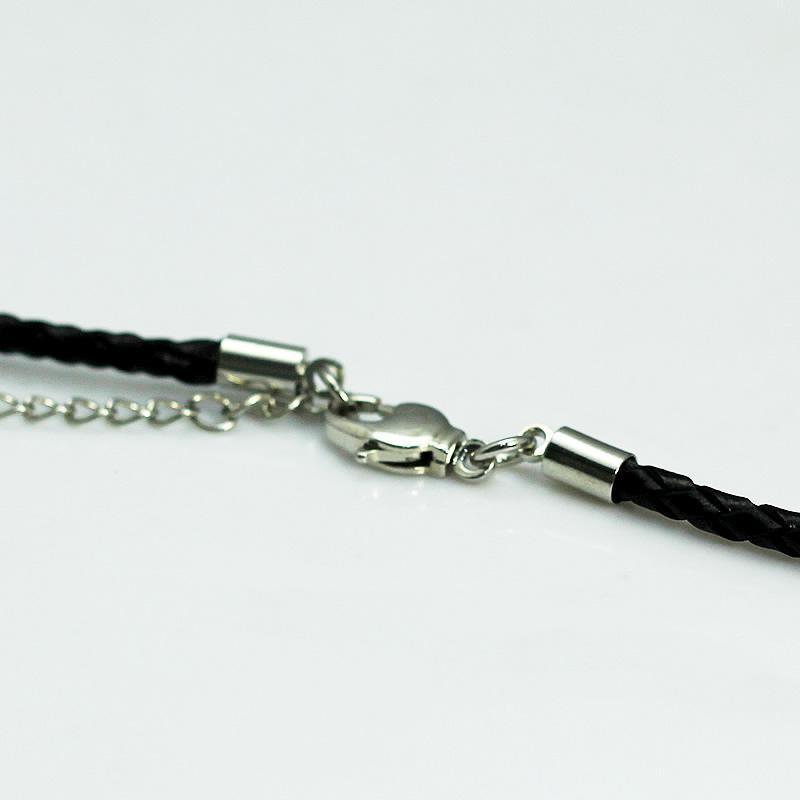 Beadsniceネックレスレザーフレンドシルバーネックレスブラックレザーコード銀メッキロブスタークラスプ調節可能なネックレスの女性ID 24500