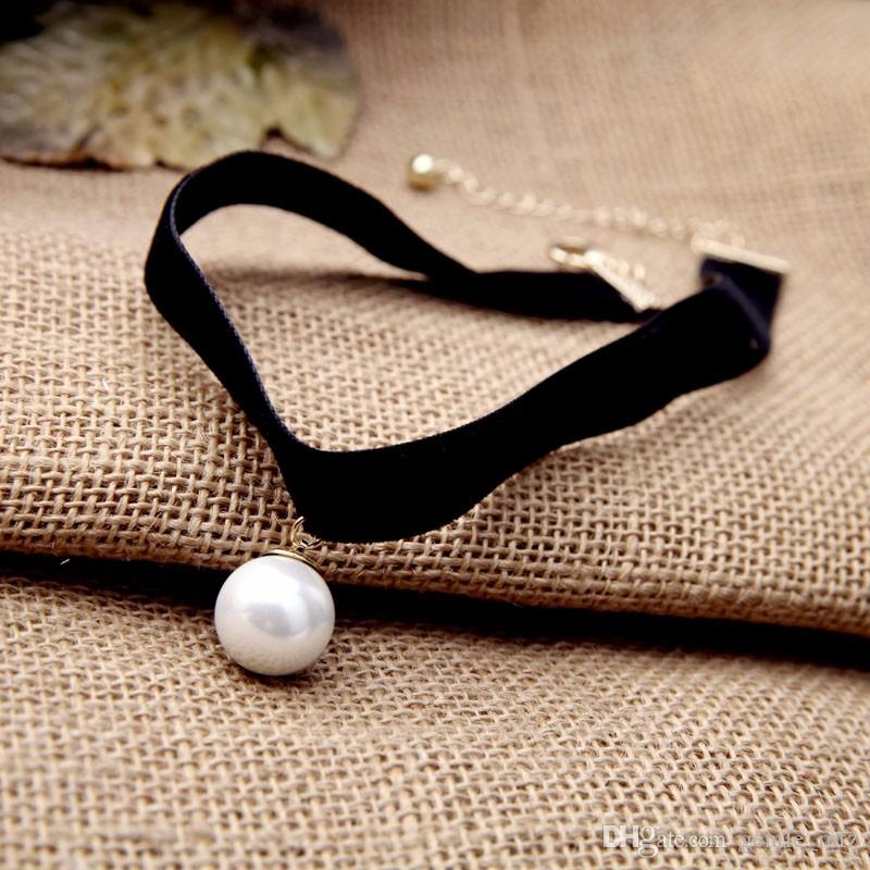 2017 New hot Popular Black Chokers Round Simulated Pearls Choker Necklace 2017 Fashion Jewelry Women Bijoux