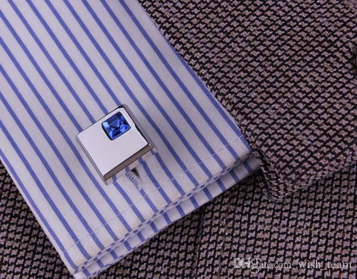 2016 fashion blue crystal cufflinks for mens shirt cufflinks hot wedding cufflinks gift with for choosing W133