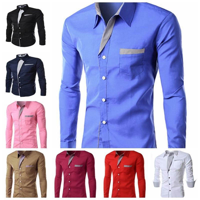 2016 New Dress Fashion Quality Long Sleeve Men Shirts Korean Slim