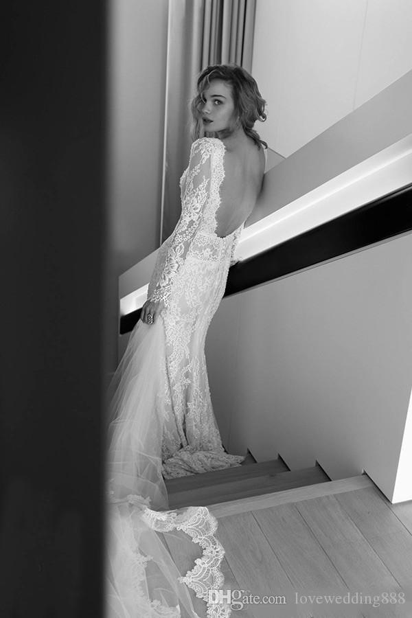 LIHI HOD 2019 Sexy Lange Mouwen Kant Trouwjurken Schede Diepe V-hals Backless Vintage Contited Brides Jurken Custom Made