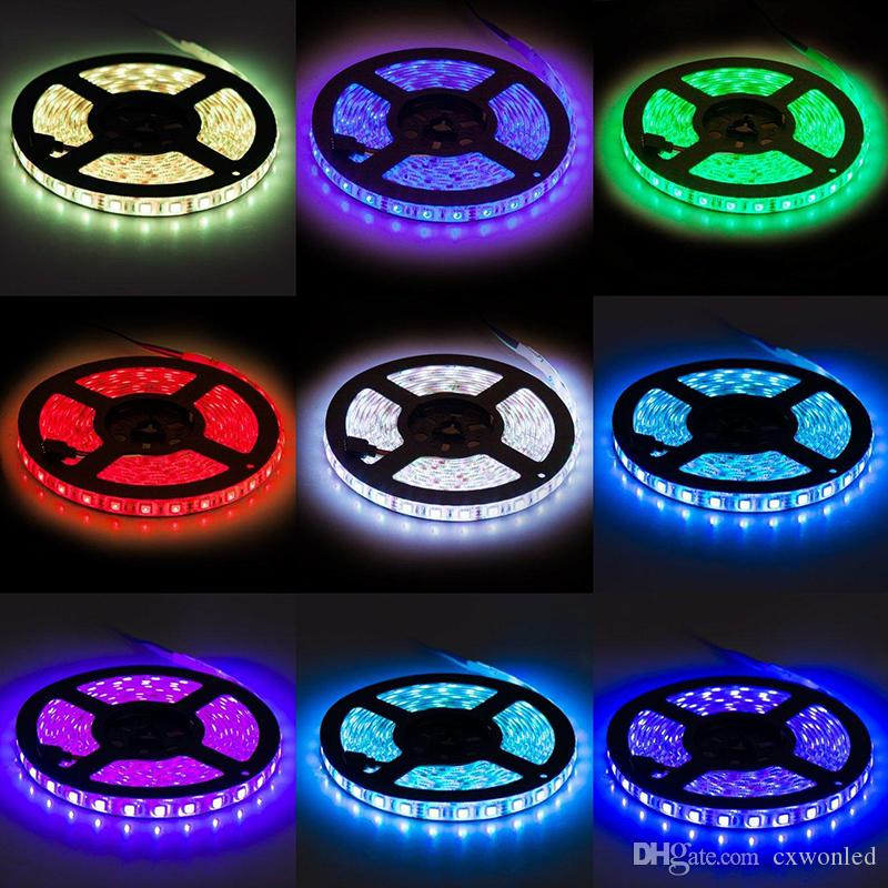 5050 LED Strip Light RGB Flexible Waterproof 5m 44Key IR Remote Controller and 12V 5A power supply all in one set
