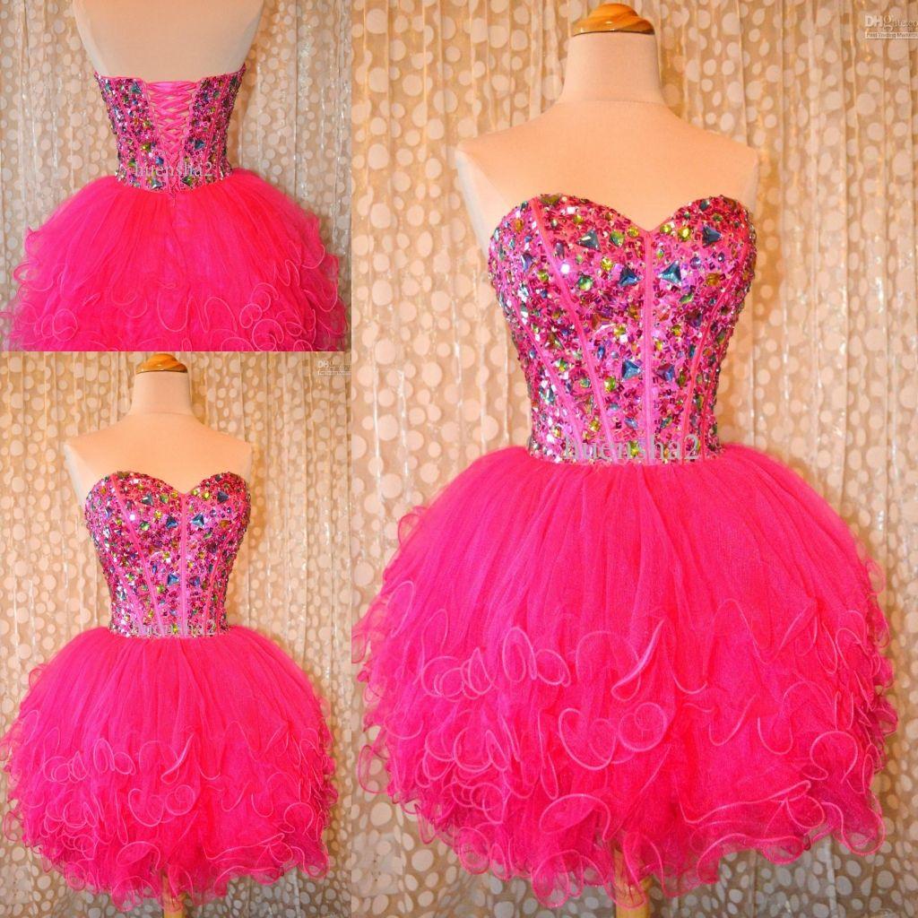 Compre 2015 Nuevos Preciosos Vestidos De Fiesta Cortos Sweetheart ...