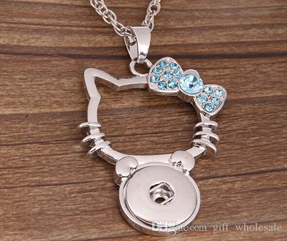 Multicolor Cat Ginger Snap Button Pendants Necklace with Crystal Jewelry Interchangeable Jewerly for choices