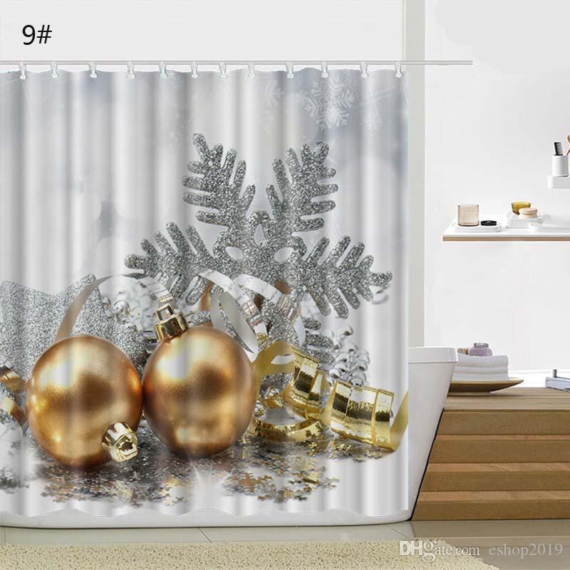 Großhandel Kreative Duschvorhang Weihnachten Stoff Wasserdicht Bad ...