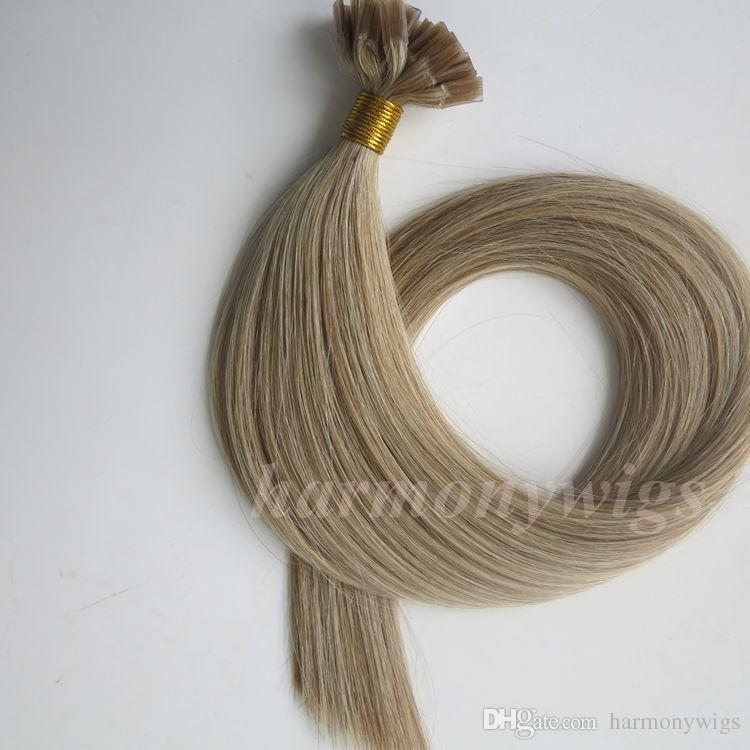 Pre скрепленное плоским наконечником человеческих волос 50г 50пряди 18 20 22 24-дюймовый M8613 кератин для волос